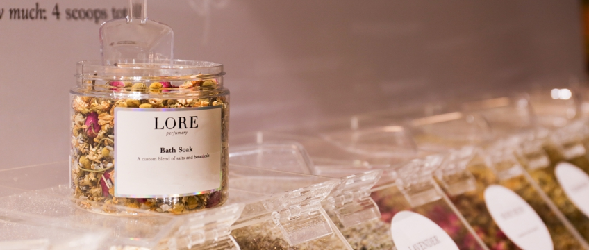 I made a custom body scrub with Lore Perfumery's Custom Soak & Scrub Station…